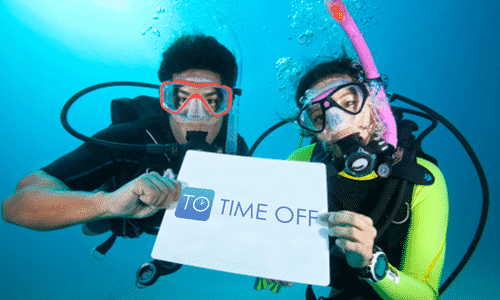 Scuba Divers with Time Off sign