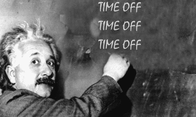 Einstein writing Time Off on the blackboard