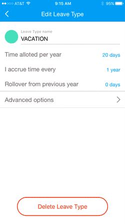 Accruals Configuration Screen