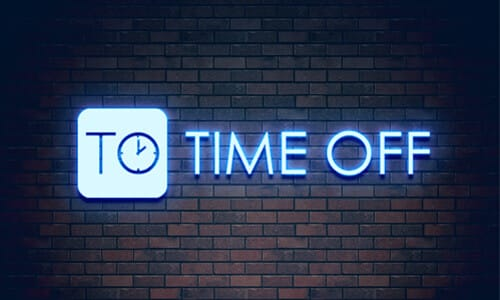 Time Off Blue Neon Sign