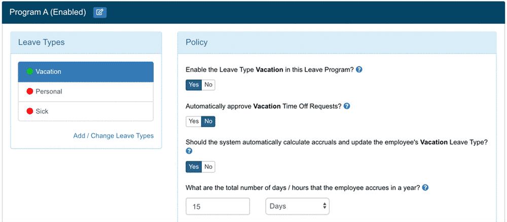 Leave Program Editor
