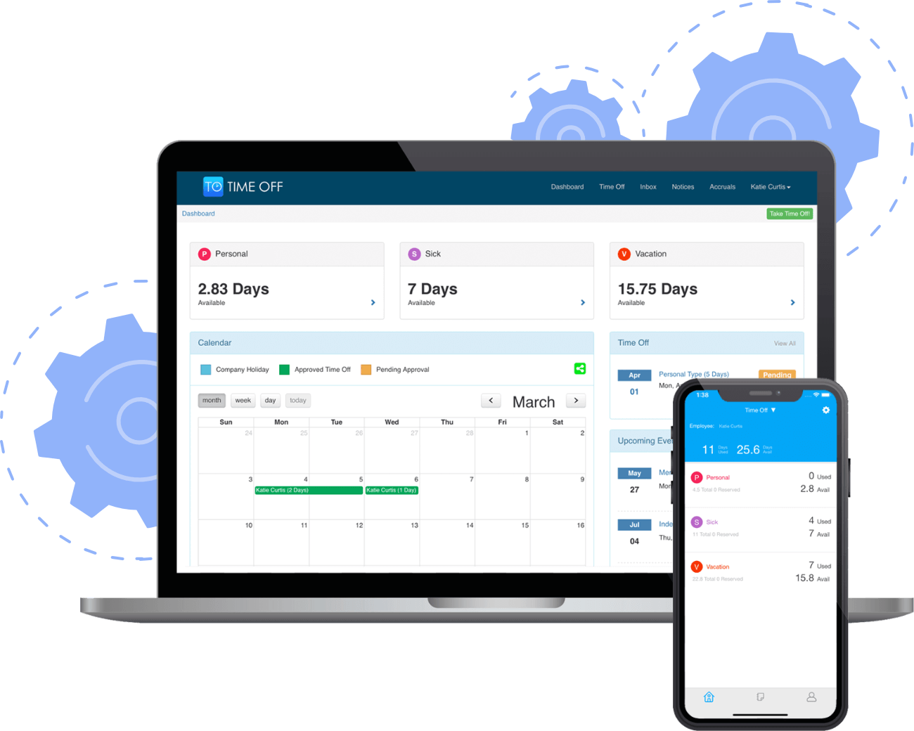 Time Off Cloud Dashboard on Web and Mobile